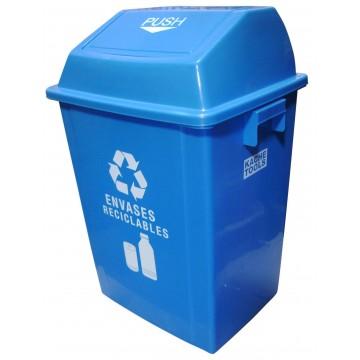 Caneca plástica azul 40lt...